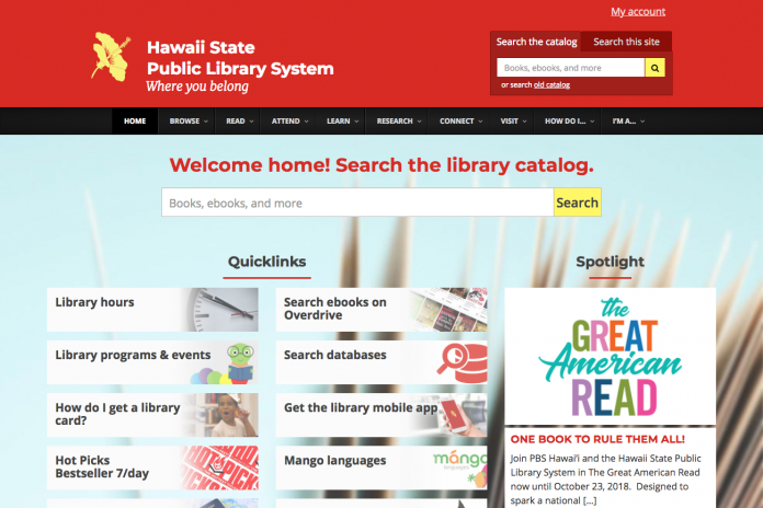 screencapture of library website